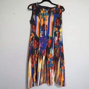 Fit and flare colorful floral dress